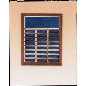 "Perpetual Series Walnut Plaque w/ 24 Sapphire Marble Plates (12""x15"")"